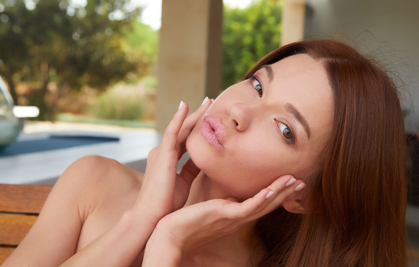 Photo wallpaper look, face, hands, lips, brown eyes, manicure, Nedda A
