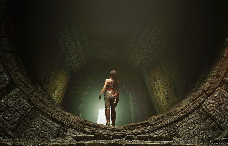Photo wallpaper lara croft, gates, adventures, shadow of the tomb raider, fresco