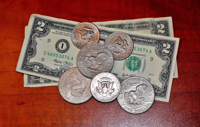 Photo wallpaper Coins, USA, USA, Bills, Money, Dollar, Currency, Dollars, Dollars, Банкноты