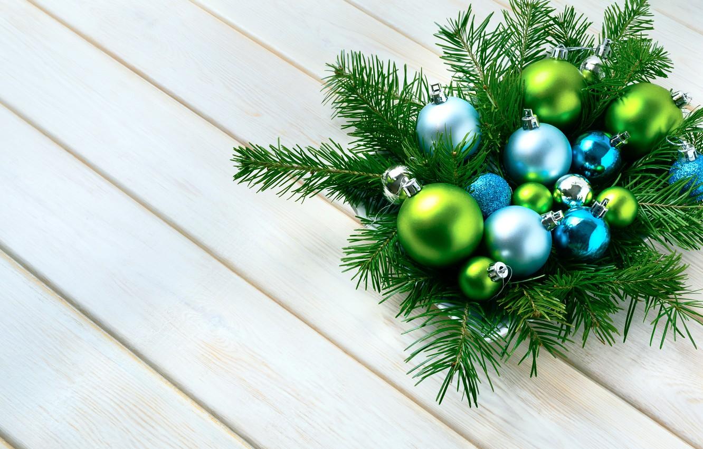 Photo wallpaper branches, holiday, balls, Christmas, ate, decor, composition