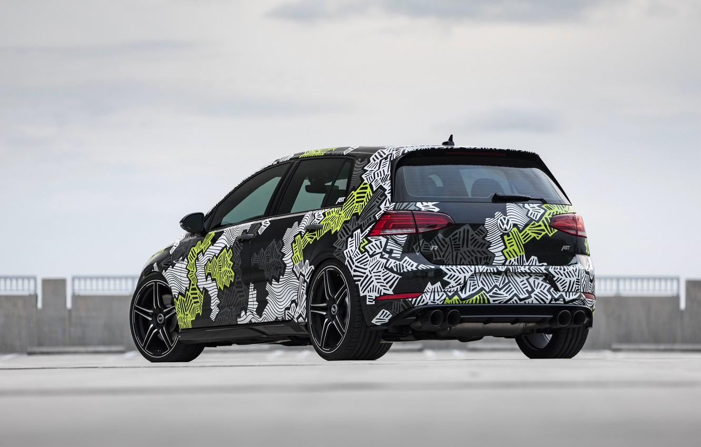 Photo wallpaper Volkswagen, rear view, Golf, 2018, Golf R, ABBOT, Abstract Concept