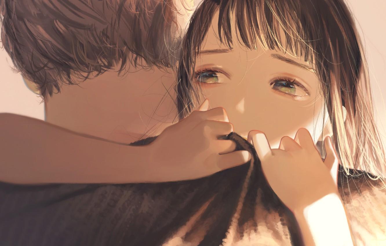 Photo wallpaper girl, hugs, guy