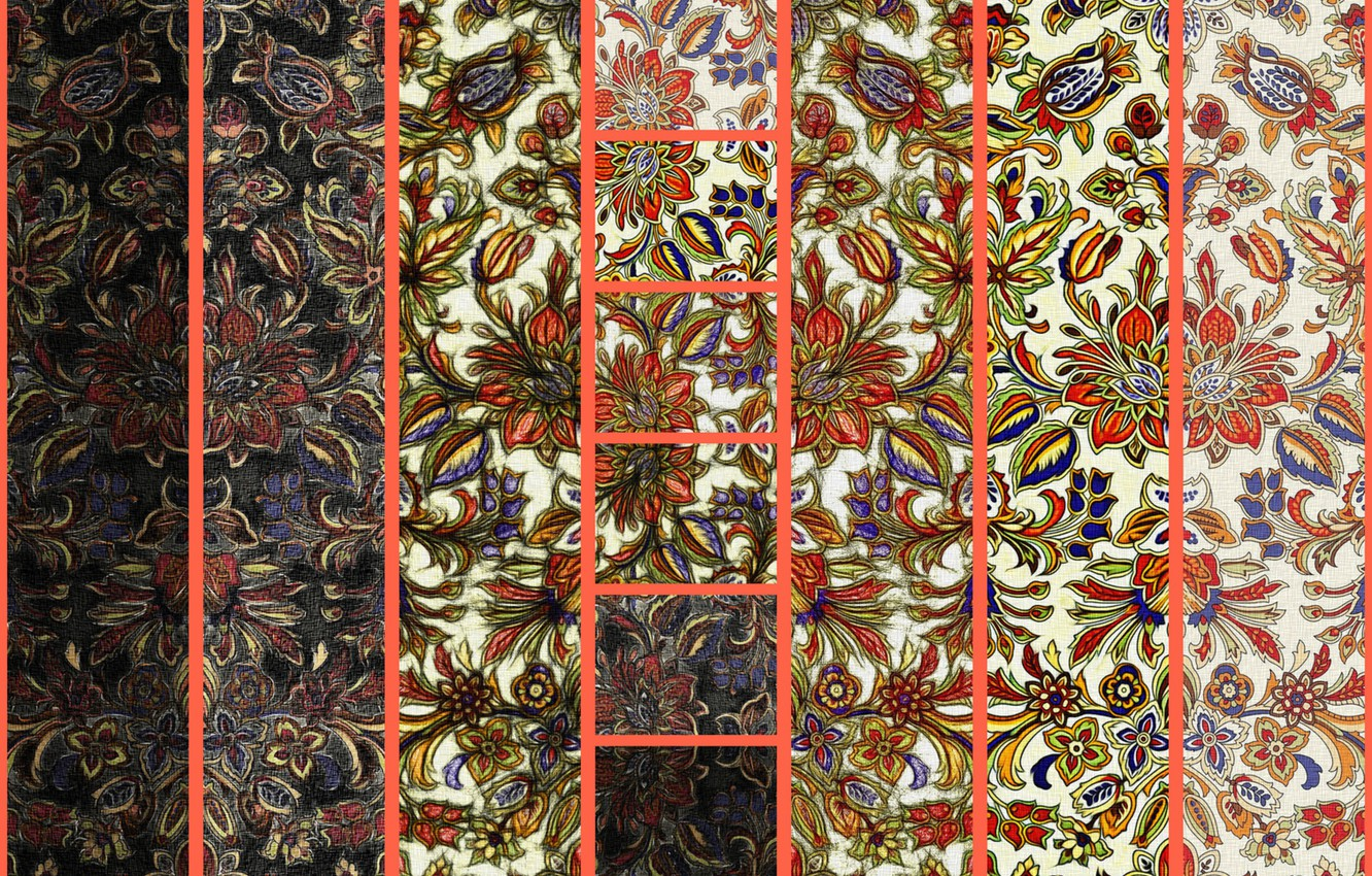 Photo wallpaper canvas, collage, figure, texture, ornaments, textiles, floral patterns, the shades of the fabrics