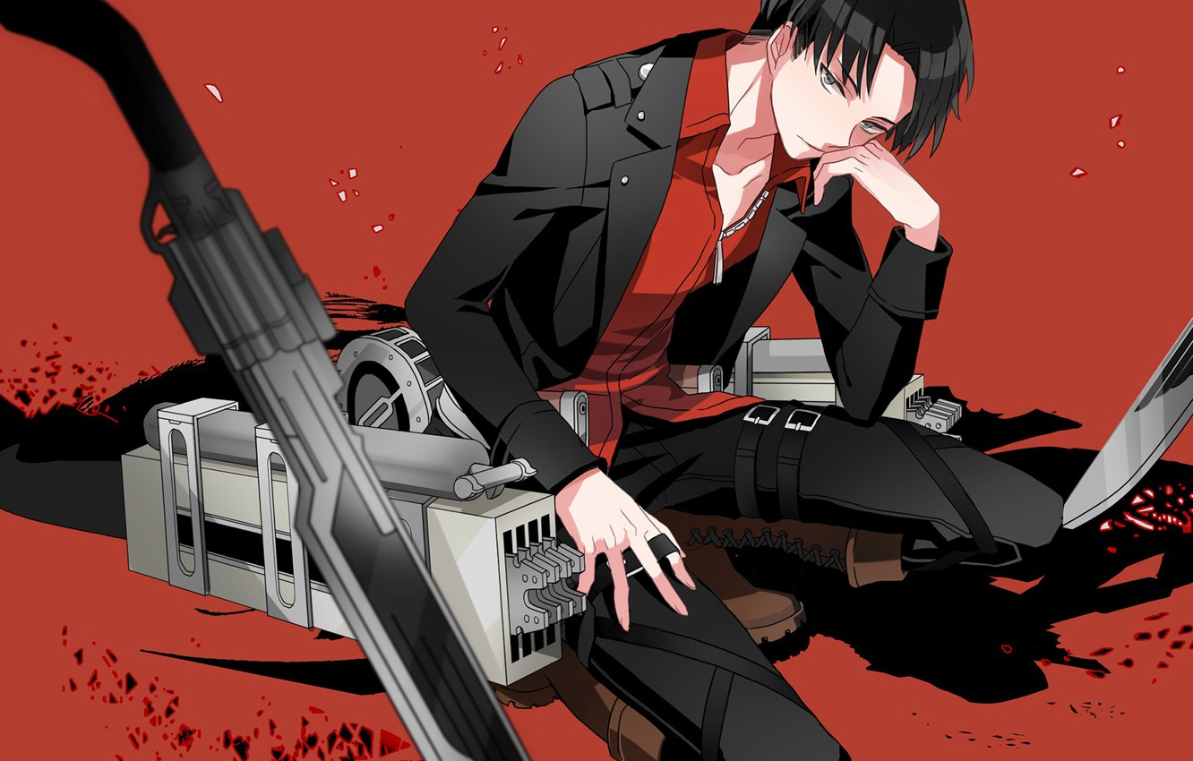 Photo wallpaper weapons, anime, art, Sword, red background, Shingeki no Kyojin, Attack of the titans, The invasion …