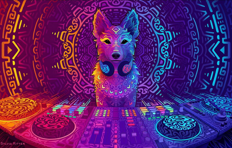 Photo wallpaper dog, art, DJ, art, DJ, 2019, Disco Dingo, Sylvia Ritter, by Sylvia Ritter