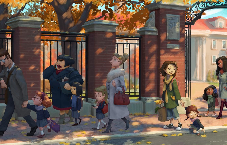 Photo wallpaper autumn, children, school, parents