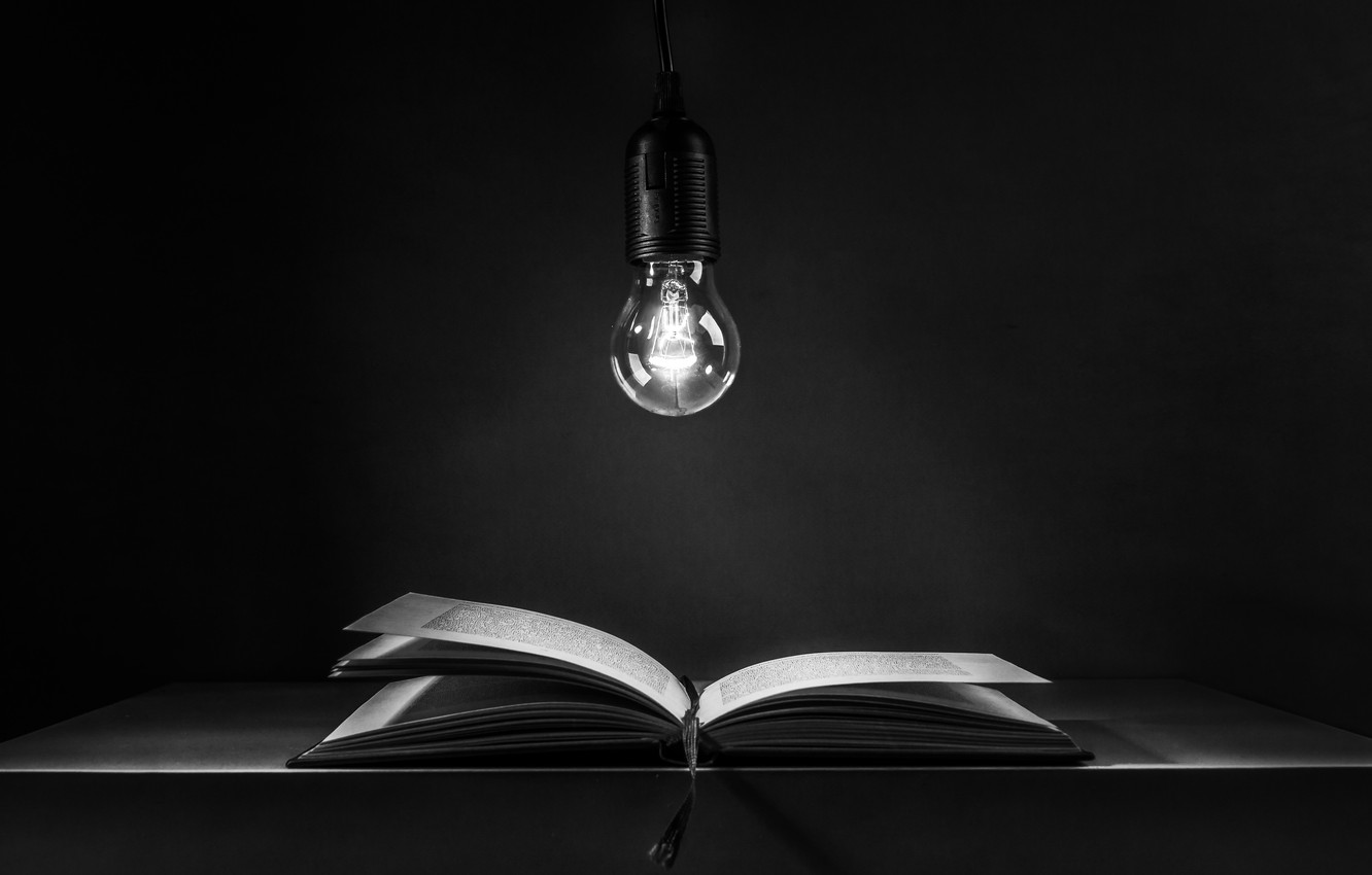 Photo wallpaper light bulb, book, book, light bulb, Ute Scherhag, неучение - тьма, учение - свет, teaching …