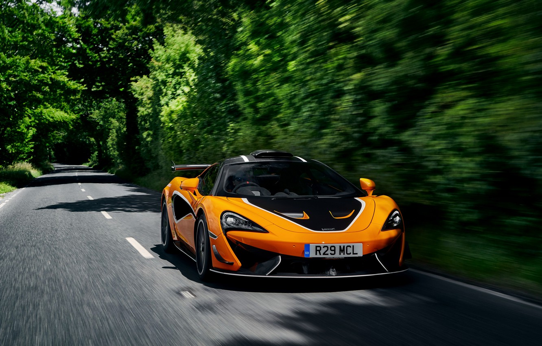 Photo wallpaper road, vegetation, coupe, McLaren, 2020, V8 twin-turbo, 620R, 620 HP, 3.8 L.