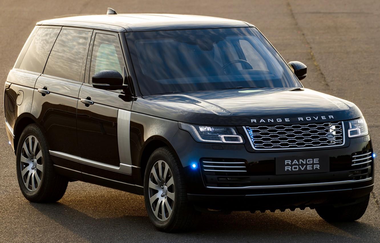 Photo wallpaper machine, lights, black, Range Rover, black, side, wheel, Range Rover Sentinel