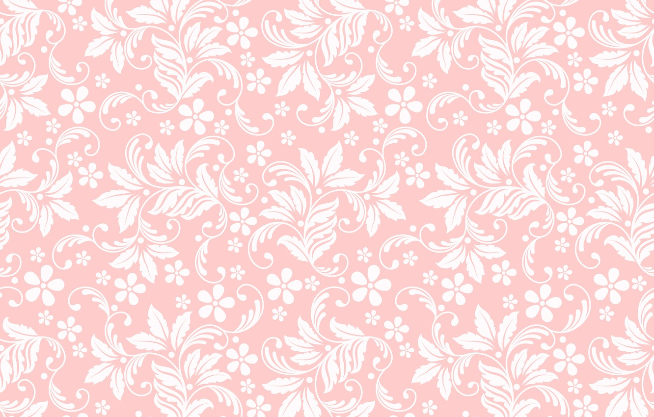 Photo wallpaper texture, pink background, floral ornament, seamless