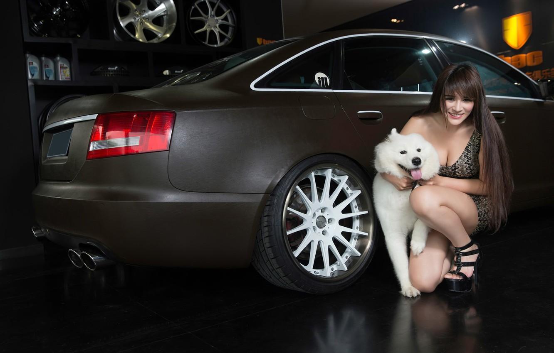 Photo wallpaper auto, look, smile, Audi, dog, Girls, Asian, beautiful girl, posing on the car