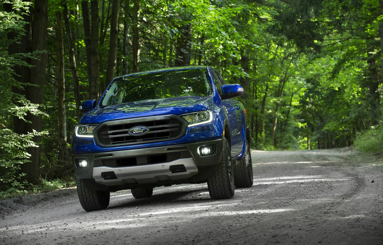 Photo wallpaper blue, Ford, pickup, Ranger, forest road, 2019, FX2 Package