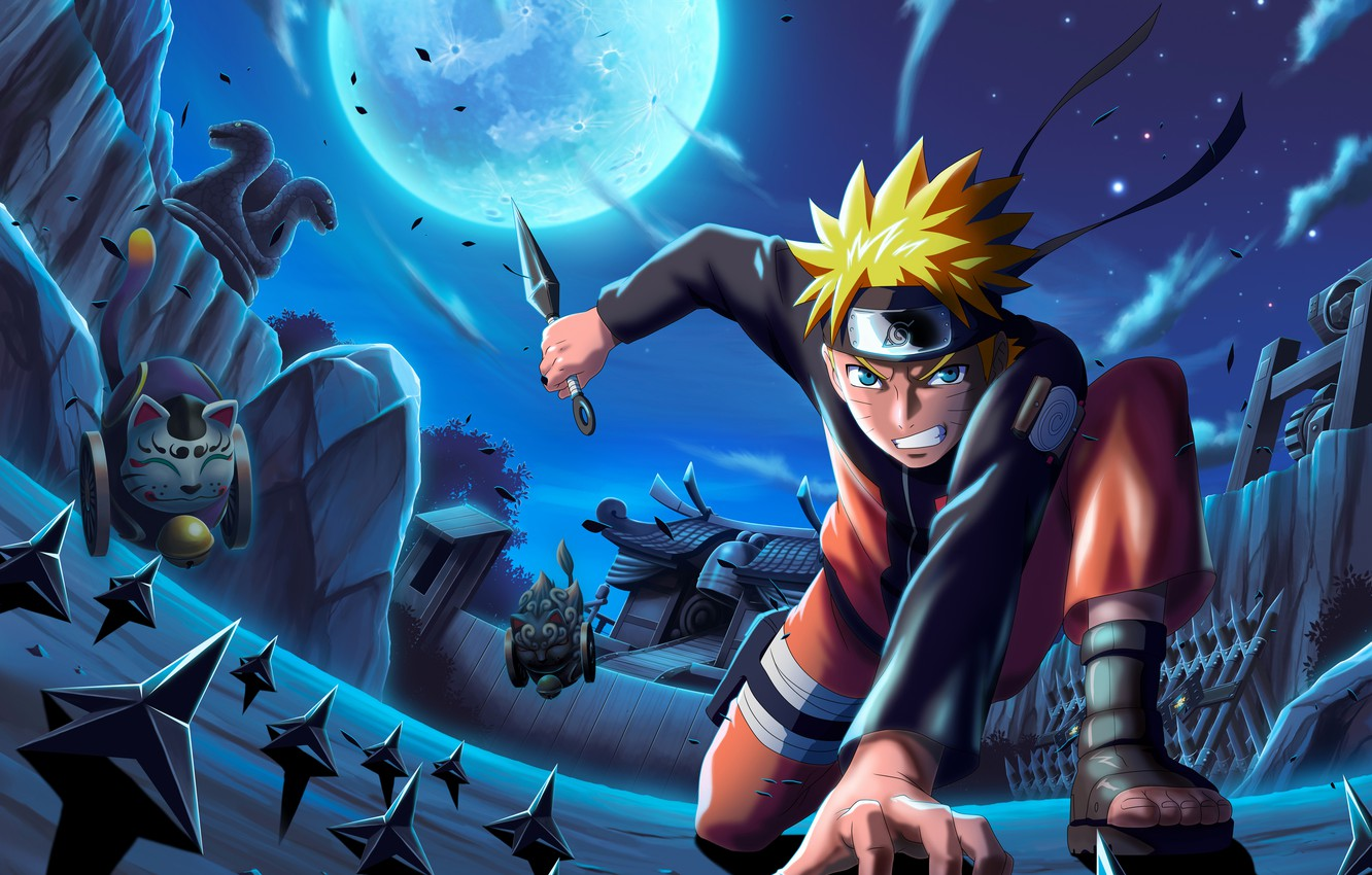 Photo wallpaper night, weapons, Naruto, Naruto, kunai, Uzumaki Naruto, shuriken
