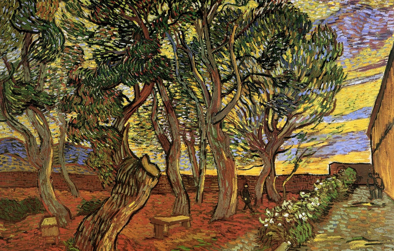 Photo wallpaper trees, flowers, people, hospital, benches, Vincent van Gogh, The Garden of Saint-Paul, Hospital 5