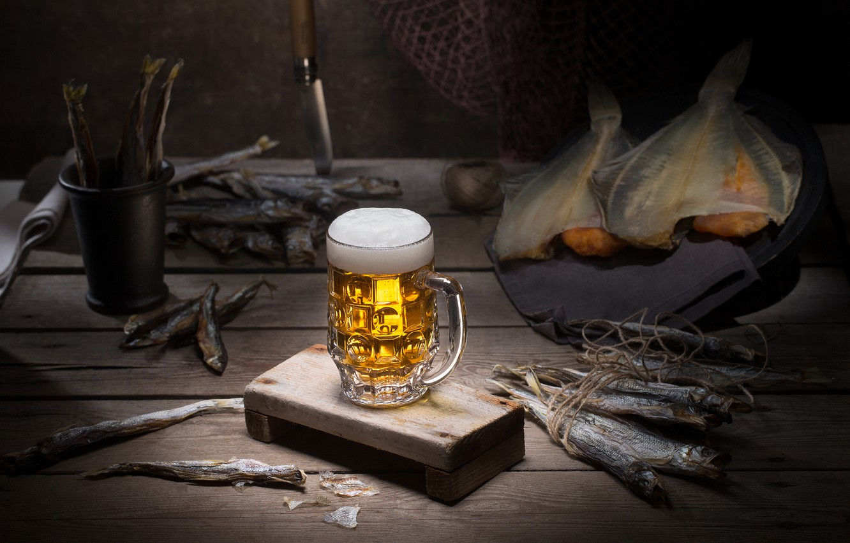 Photo wallpaper glass, beer, fish, still life, balyk
