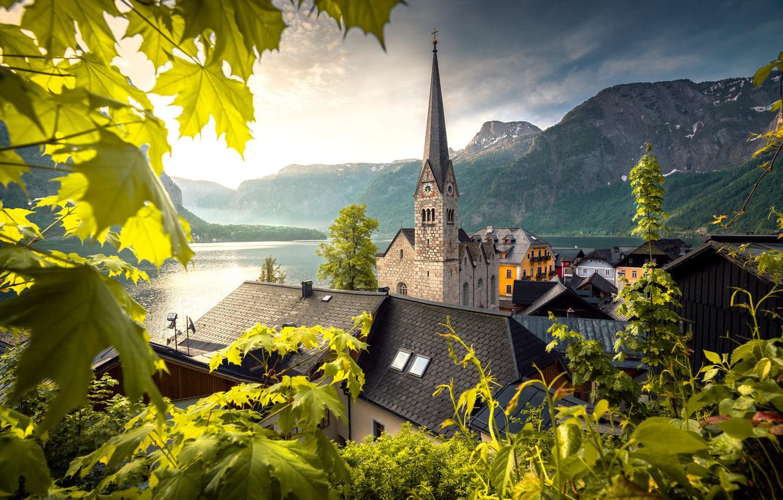 Photo wallpaper leaves, mountains, lake, tower, home, Austria, roof, Church, town, Hallstatt, Hallstatt, community, Ilhan Eroglu