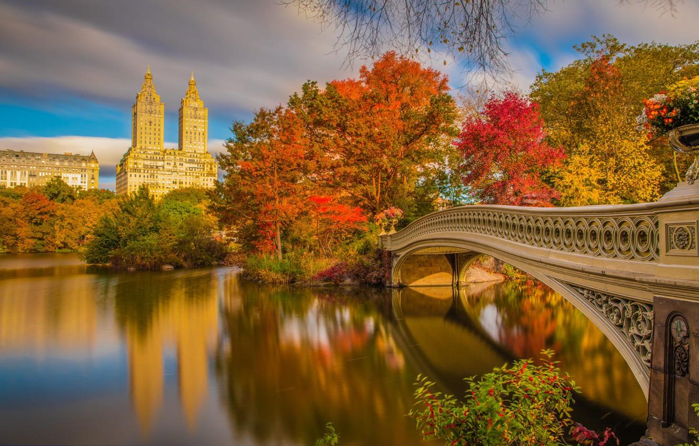 Wallpaper Autumn Bridge River New York Beautiful New York