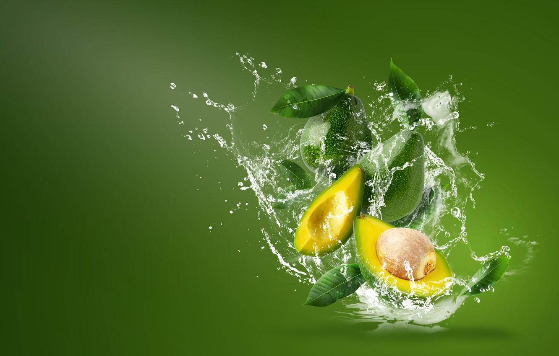 Photo wallpaper water, squirt, avocado