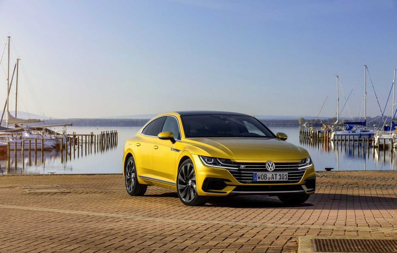 Photo wallpaper yellow, pavers, Volkswagen, promenade, 2018, R-Line, liftback, 2017, Arteon