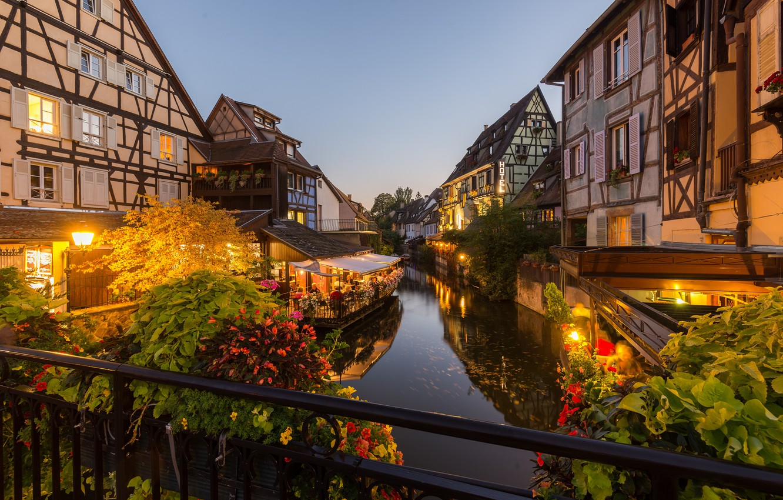Photo wallpaper lights, France, the evening, Colmar