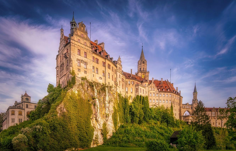 Photo wallpaper the sky, rock, castle, Germany, Germany, Baden-Württemberg, Baden-Württemberg, Sigmaringen Castle, Sigmaringen, Sigmaringen, Sigmaringen Castle