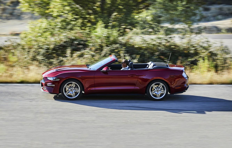 Photo wallpaper movement, vegetation, Ford, convertible, 2018, dark red, Mustang Convertible