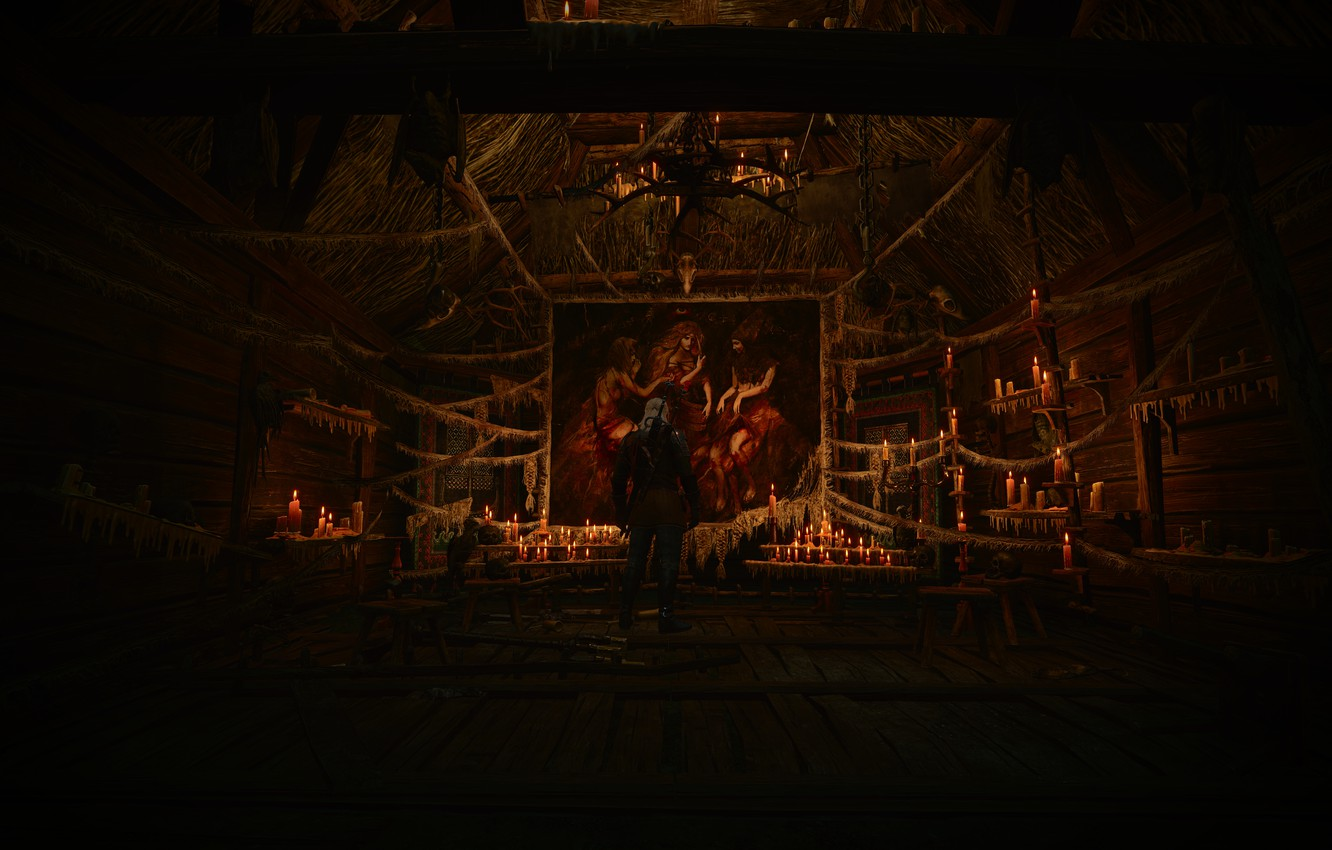 Photo wallpaper Candles, Picture, Witches, Witcher 3 Wild Hunt, Background.