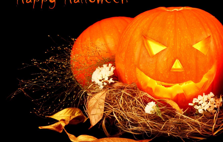 Photo wallpaper leaves, photo, Halloween, pumpkin, straw