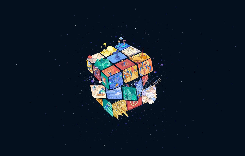 Wallpaper Minimalism Space Style Background Rubik S Cube