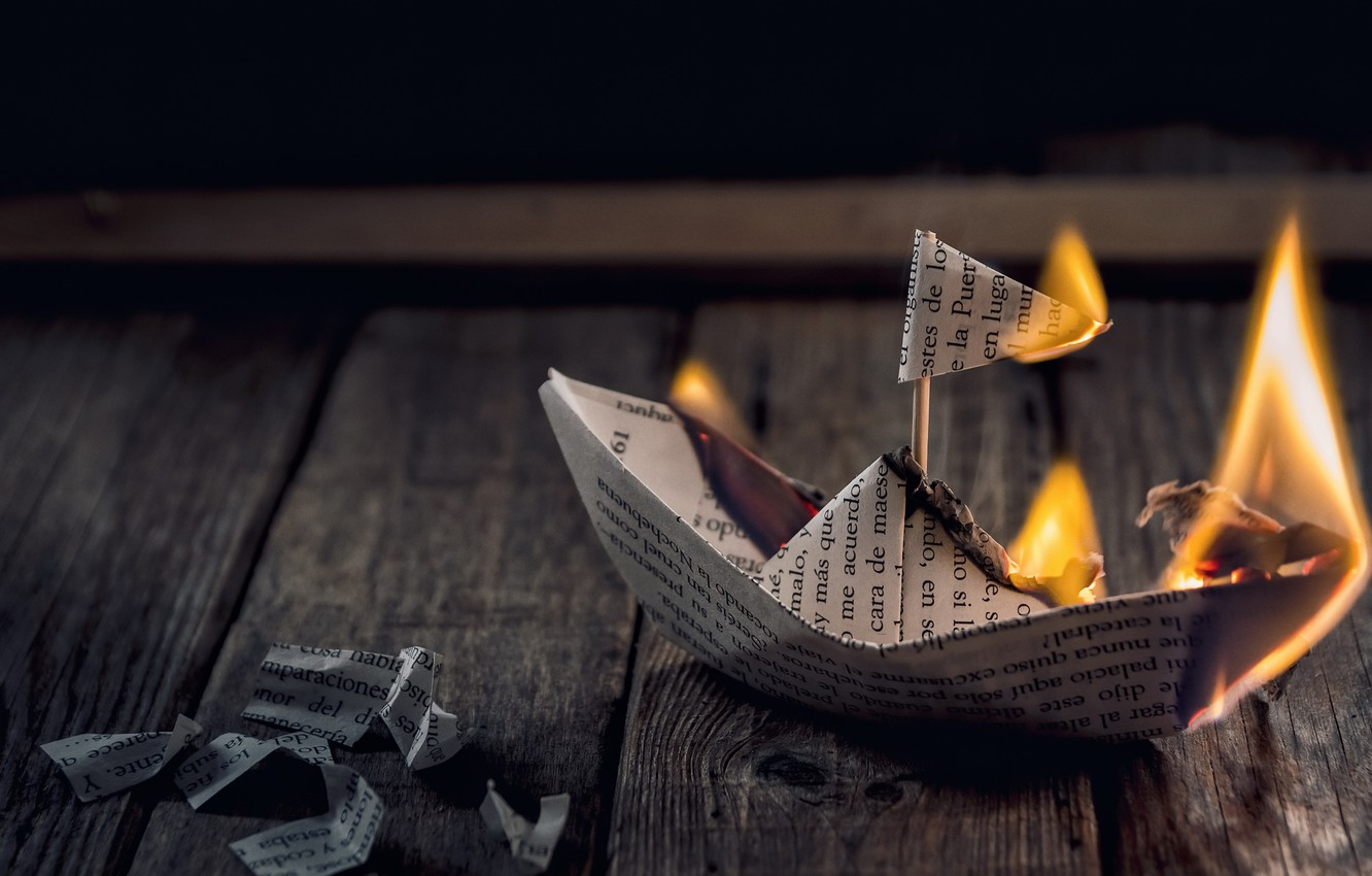 Photo wallpaper paper, fire, boat
