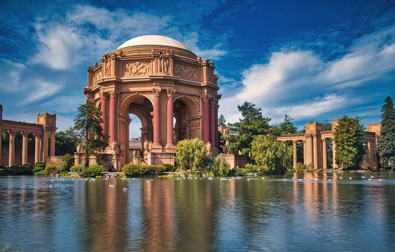 Photo wallpaper pond, the building, CA, San Francisco, architecture, California, San Francisco, Palace of fine arts, The …