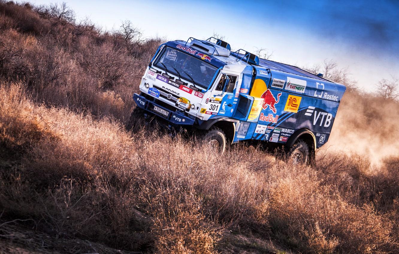 Photo wallpaper Sport, Machine, Truck, Race, Master, Russia, Kamaz, Rally, KAMAZ-master, Rally, KAMAZ, The roads, RedBull, Master, …