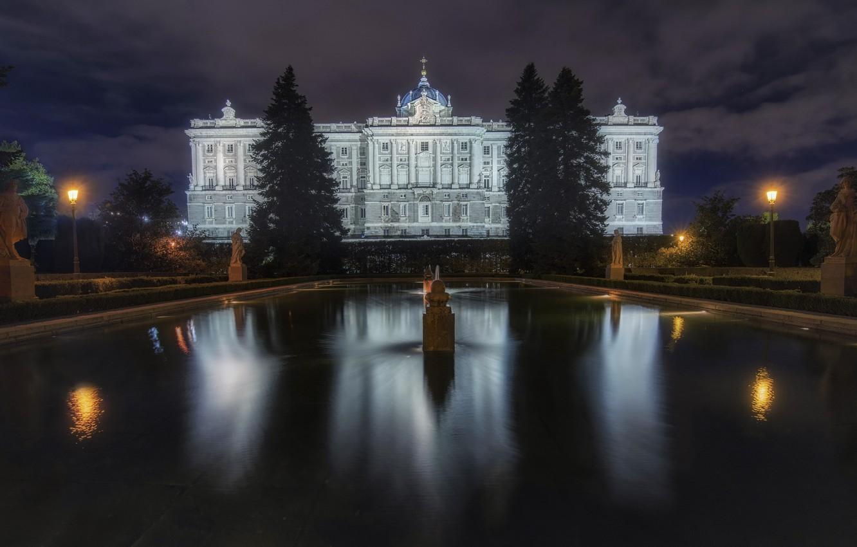 Photo wallpaper Madrid, Royal Palace, night