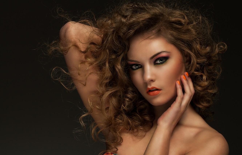 Photo wallpaper look, girl, portrait, makeup, curls, Sergejs Rahunoks