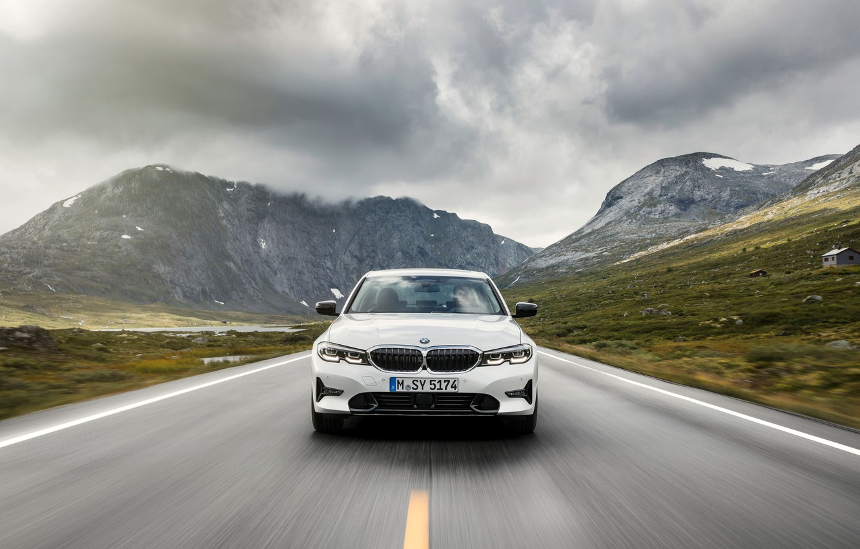 Photo wallpaper White, Road, BMW 3-Series, 2019, German Car