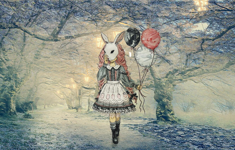 Photo wallpaper winter, forest, snow, Japan, anime, Sakura, Blizzard, alley, Anime girl, girl in a dress, с …