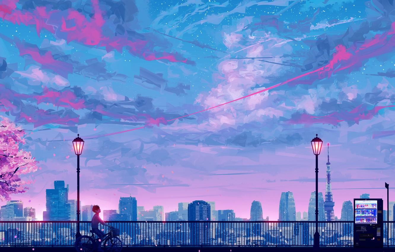 Photo wallpaper the sky, sunset, bike, Sakura, guy, stop, by SeerLight
