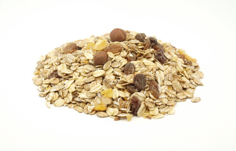 Photo wallpaper white background, hazelnuts, raisins, muesli