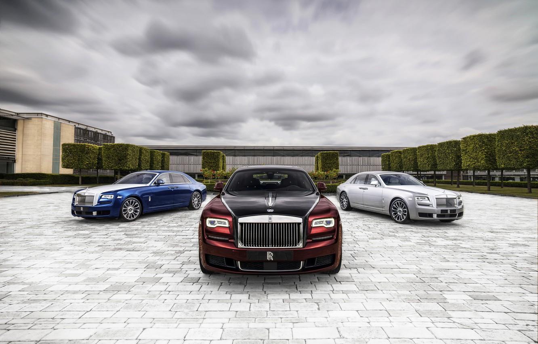 Photo wallpaper clouds, Rolls-Royce, Ghost, 2019