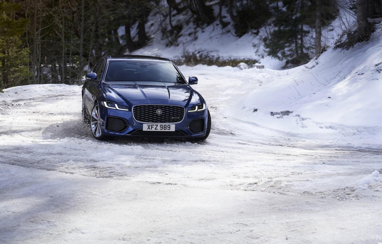 Photo wallpaper snow, blue, Jaguar, turn, sedan, AWD, Jaguar XF, 2020, XF