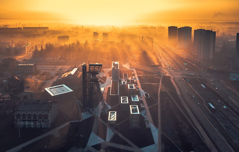 Photo wallpaper the city, fog, morning, Poland, Katowice
