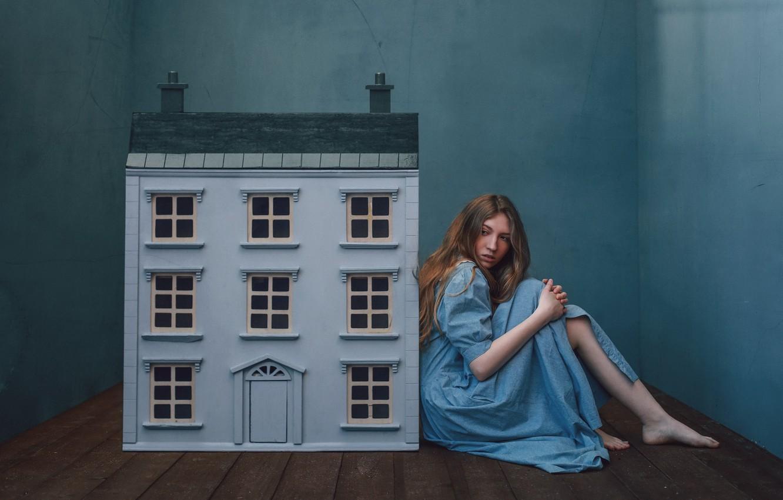 Photo wallpaper girl, house, house