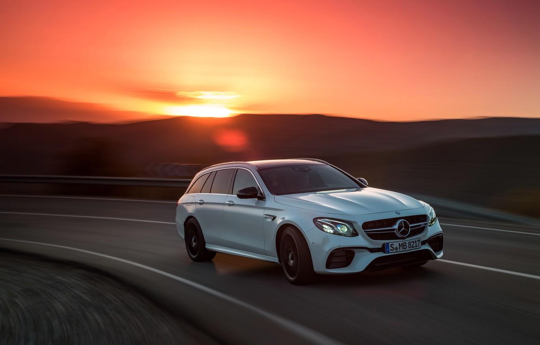 Photo wallpaper sunset, Mercedes-Benz, AMG, universal, E63, Estate, 4MATIC, 2017, E63 S