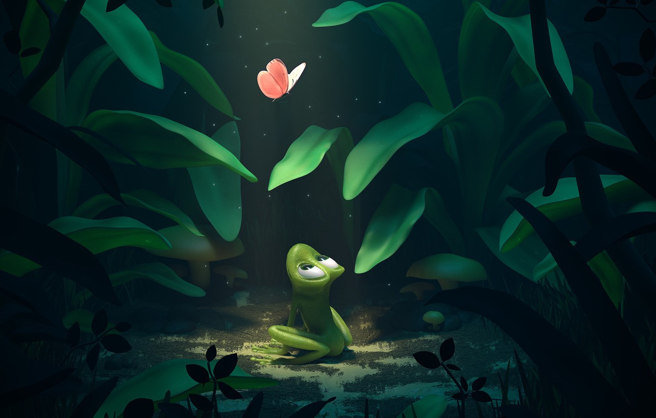 Photo wallpaper night, frog, art, moth, children's, Friends Along The Way, Pedro Couto