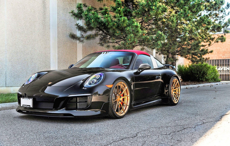 Photo wallpaper Porsche, Porsche 911, BLACK, Targa 4S, Porsche 911 Targa 4S, BLACK PORSCHE 991 TARGA 4S, …