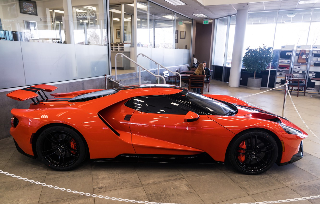 Photo wallpaper orange, Ford GT, sports car, side view, 2020 Ford GT