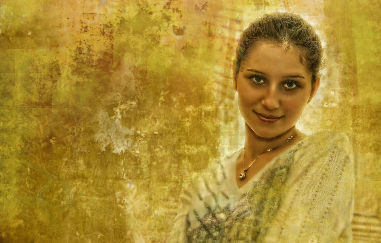 Photo wallpaper colors, girl, yellow, art, beautiful, look, glance, Kide FotoArt