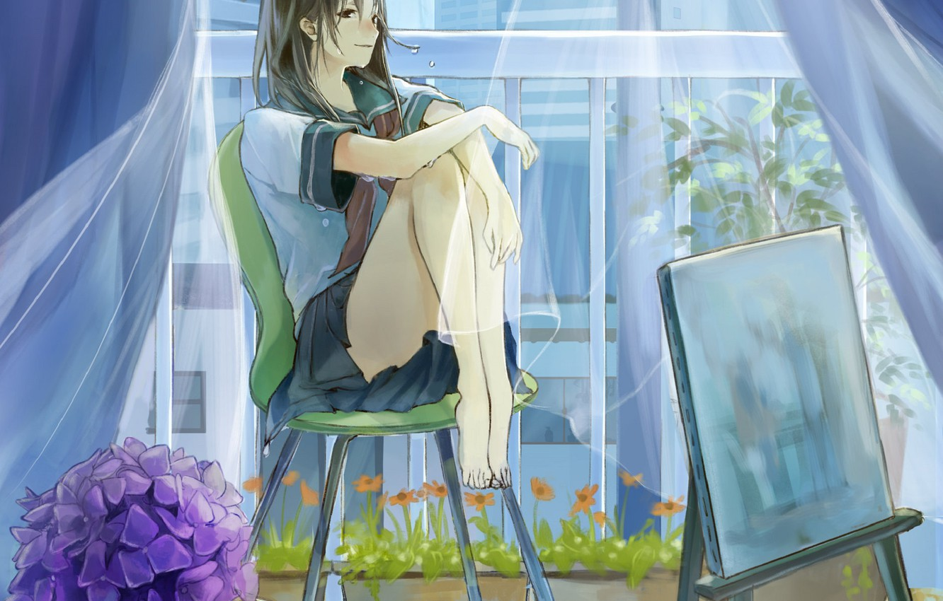 Photo wallpaper wet, barefoot, curtains, schoolgirl, in the room, on the chair, hydrangea, easel, window, transparent fabric, …