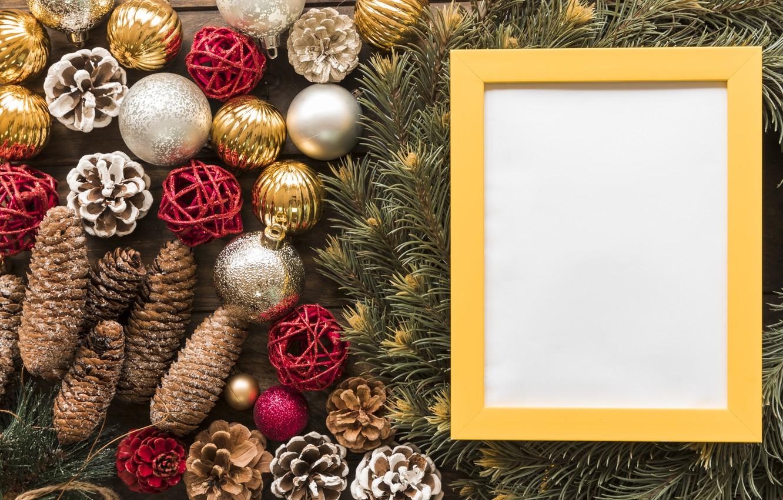 Photo wallpaper decoration, balls, frame, New Year, Christmas, Christmas, balls, wood, New Year, decoration, frame, Merry, fir …