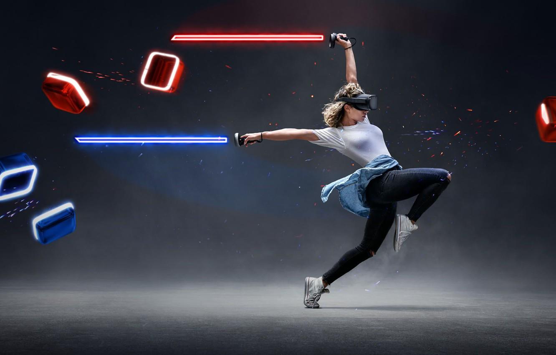 Photo wallpaper girl, dance, lightsaber, virtual reality, VR, Beat Saber